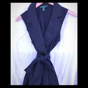 Black Ralph Lauren silk belted dress w pleats